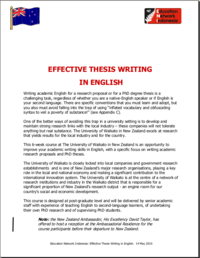 Effective Thesis Writing In English